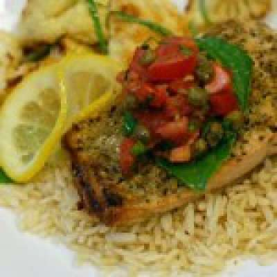 Roasted salmon with tomato basil caper sauce