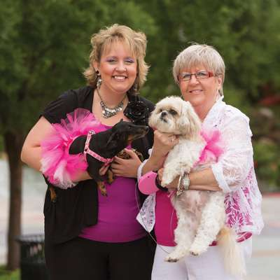 Breast cancer survivors Mandi Reddig and Carol Belles