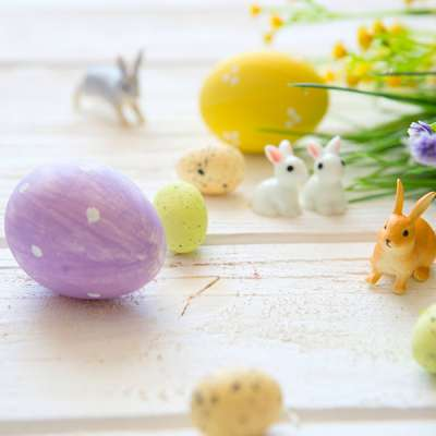 boiled decorated Easter eggs
