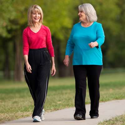 two women walking